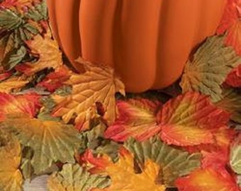 Assorted Colors and Shapes Autumn Fall Fabric Leaves Leaf Decor Wedding Seasonal - Pkg 250
