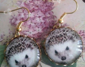 hedgehog earrings fairy forest animal picture pendant charms cabochon