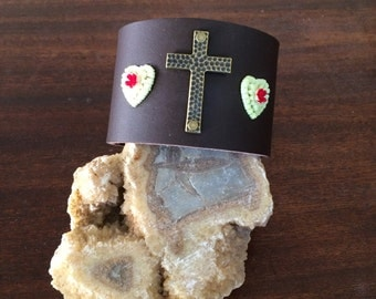 Handmade Custom Two Inch Leather Cuff With Brass Cross And Vintage Plastic Flowers RM265