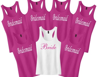Bachelorette Party Set of 7.Bridesmaid Shirts.Maid Of Honor Shirt.Bridesmaid Tank Tops.Bridesmaid Gift.Wedding Shirts.Bride Shirt Tank Top