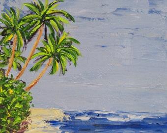 Beach Painting - Three Palms - Original Acrylic palette knife on wood panel