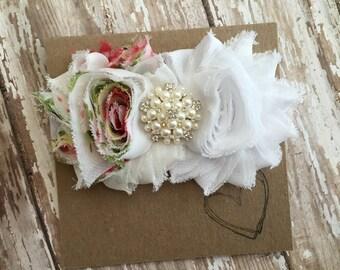Vintage Rose and White Shabby Flower Headband