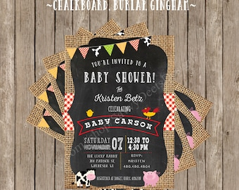 Farm Baby Shower Invitation - Farm Themed Baby Shower - Barnyard Baby Shower - Country Western Baby shower Invite - DIY Printable