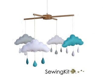 baby mobile sewing kit, choose your colours, DIY cloud mobile, cloud raindrop, teal turquoise