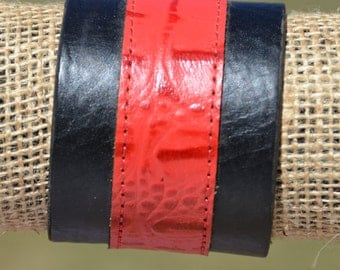 Wide leather cuff bracelet | Thick black genuine leather wristband