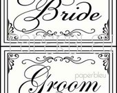 "Weddings -"" Bride & Groom""  Matching Signs  DIY Instant Printable Downloads - two 5x7 prints"