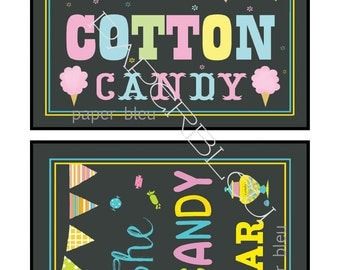 """Weddings/ Parties """"Candy Bar"""" & """"Cotton Candy"""" Chalkboard Style Table Signs -  Instant Printable Downloads - two 5x7 prints"""