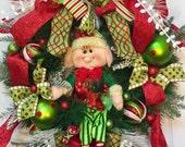 40% OFF Whimsical Elf Christmas Pine Wreath