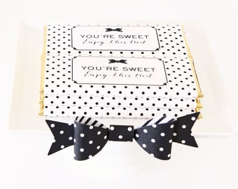 Bow and Polka Dots Personalized Candy Bar Wrapper. Choice of Gold, Silver, Gold Copper, Copper or Black Foil included.