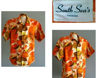 Vintage mens hawaiian shirt by South Sea's fashion.