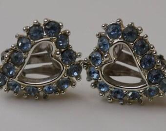 Vintage Sarah Coventry Blue Rhinestone Heart Earrings