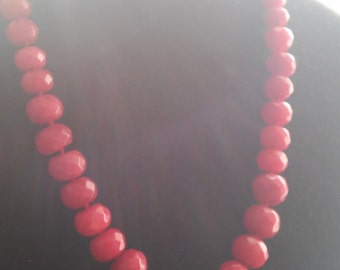 Ruby Sparkling Faceted Beads Necklace.