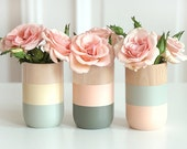 Spring Sale 20% - Set of 3 Painted Wooden Vases Home Decor