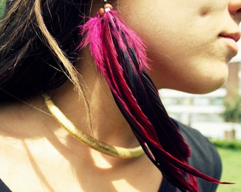 Pink feather Earring