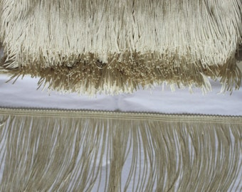 4 inch Ivory, Chainette  Fringe