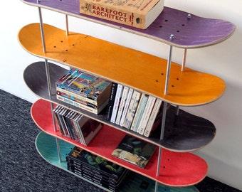 Shelf made by recycled skateboards.