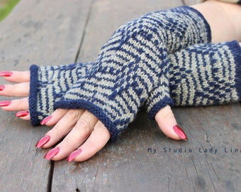 Hand Knit Fingerless Mittens, Long Fingerless Gloves in Light Gray & Blue, Handmade Gift, GIFT WRAPPED
