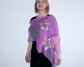 Felted Silk Scarf, Nunofelt, Pink Everyday Scarf, Felted Scarf, Floral Ornament, Lily Scarf