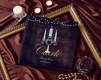 Modern Wedding Guest Book Gatsby Wedding Guestbook Contemporary Guest Book Alternative Personalized Wedding Guest Book With - GB#12