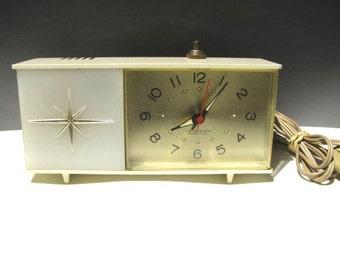 Vintage Starburst Westclox Electric Alarm Clock 1960's with Night Light