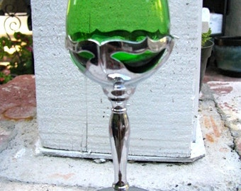 Krome Kraft Cordial Glasses with Green Cambridge Glass, 1940's Farber Bros., NYC