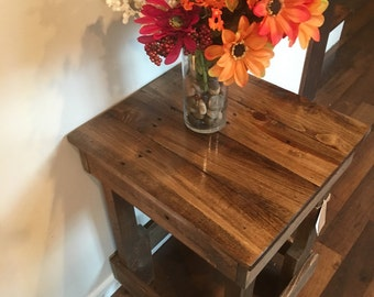 Reclaimed wood end table night stand farm rustic table