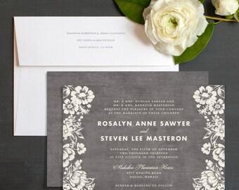 Woodsy Blooms Wedding Invitation