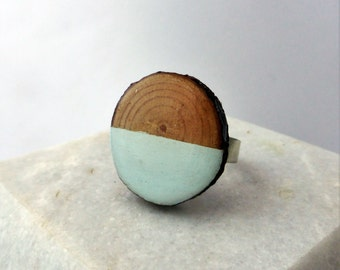 Wood Slice Ring - Blue Splice