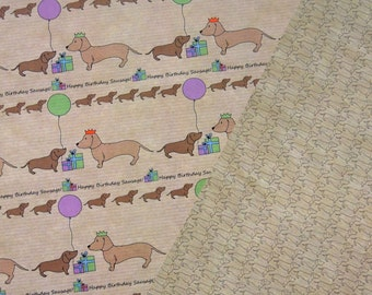 Sausage dog double sided wrapping paper dachshund Birthday design