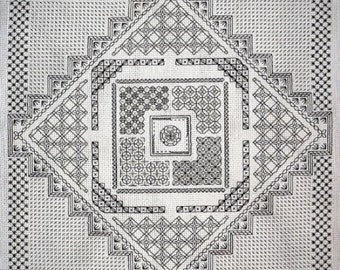 Maze Sampler – Counted Blackwork Chart. Geometric design can be made into a cushion.  Blackwork design in black or coloured thread.
