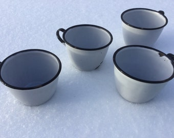 Adorable Vintage Petite SET of 4 Camping Cups, Mugs for Country, Cabin, Farmhouse decor ~ QUALITY!