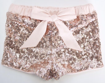 Champagne Pink Sequin Shorts