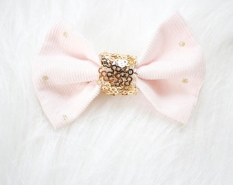 Pink Corduroy Sequin Bow