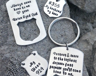 Always come home to me police badge dog tag key chains and necklace set