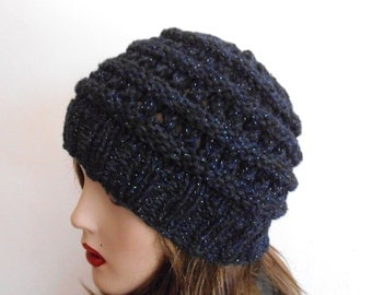Blue Chunky Wool Hat. Slouchy hat. Hand Knit Hat.