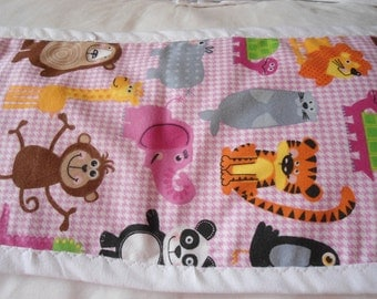 Burp Cloth witlh animils on pink and white check