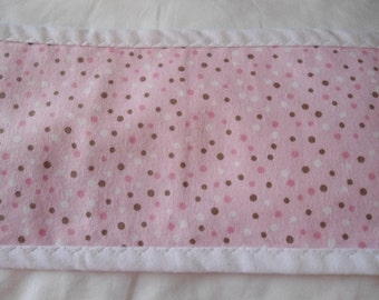Burp Cloth with brown, white and pink dots on pink background