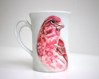 Handpainted Teacup - Rose Finch - Original Painting