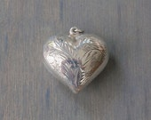 Vintage Sterling Silver Puffy Heart Pendant - Large Etched Heart Pendant - Valentine's Day Gift Wife Girlfriend