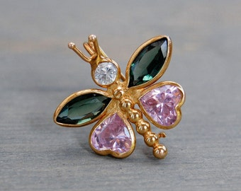 Victorian 14k Gold Butterfly Brooch - Antique Gold Multi Stone Butterfly Pin - White Sapphire, Green Tourmaline, Pink Amethyst Gemstones