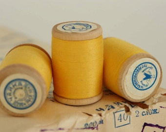 SALE -20% off, vintage thread spool, soviet spools, wooden spools, made in USSR, unused with labels, Scandinavian Fabric, yellow