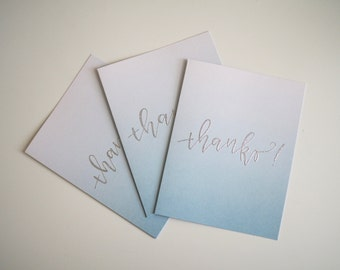 """Ombre Hand Lettered Embossed """"Thanks"""" Cards (Set of 3) // Thank You Card // Modern Calligraphy //"""