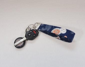 Hand Made Fabric Wristlet Key Fob Keychain