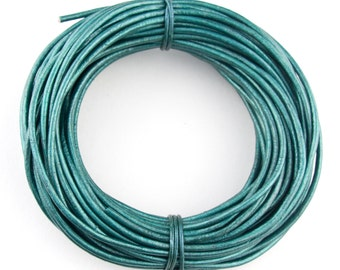 Turquoise Metallic Round Leather Cord 2mm 25 meters (27.34 yards)