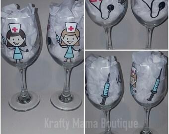 Nursing Theme Hand Painted Glassware