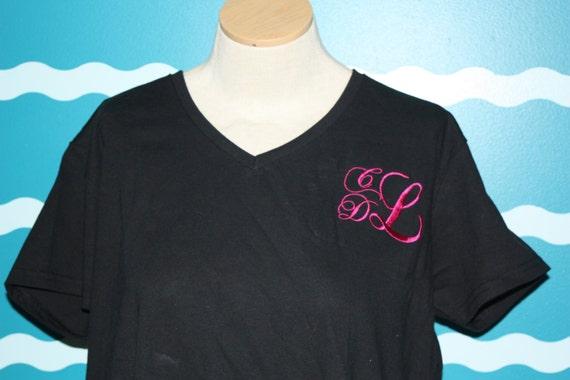Monodgrammed ladies Vneck Tshirt - custom monogrammed vneck tshirt - ladies fitted vneck shirt - personalized vneck ladies shirt