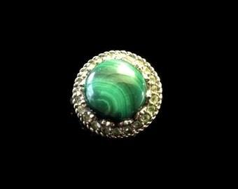 Spectacular 925 Sterling Silver Malachite & Peridot Big Bold Ring, Designer Inspired