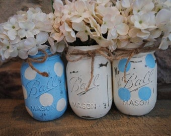 Baby Boy Shower Table Centerpieces, Mason Jar Centerpieces, Baby Boy Shower  Centerpieces, Blue