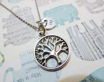 TREE of LIFE NECKLACE  - personalized with initial charm - choice of chains