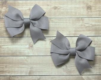 Silver Hair Bows, Gray Hair Bows, Gray Pigtail Bows, Silver Pigtail Bows, Silver Hair Clips, Gray Hair Clips, Solid Gray Bows, Gray Clips